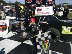 Justin Bonsignore celebrates a Whelen Modified Tour win in 2012 at Thompson International Speedway (Photo: Travis Barrett)