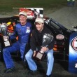 Todd Ceravolo (left) and his son-in-law Keith Rocco celebrate in victory lane at the Waterford Speedbowl in 2012 (Photo: Mark Caise/Waterford Speedbowl)