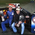 Todd Ceravolo (left) and Keith Rocco celebrate in victory lane at the Waterford Speedbowl (Photo: Mark Caise/Waterford Speedbowl)