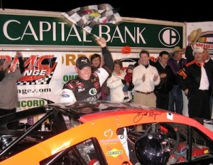 Burt Myers celebrates his North-South Shootout victory in 2009 at Concord Speedway