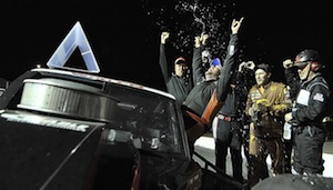 Jason Myers celebrates a victory at Caraway Speedway in Sophia, N.C. (Photo: Jason Smith/pixelcrisp for NASCAR)