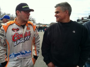 Woody Pitkat and Chris Kopec in the pits at Thompson International Speedway at the season opening Icebreaker