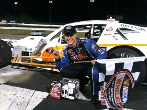 Ryan Preece celebrates a an SK Modified division victory at Thompson Speedway in 2013