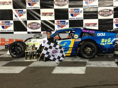 Troy Talman celebrates his first victory at Stafford Motor Speedway in May 2013 (Photo: Stephanie Kimball/Stafford Speedway)