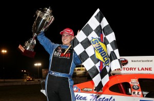 Ryan Preece celebrates in victory lane at the Waterford Speedbowl last June following the Whelen Modified Tour Mr. Rooter 161 (Photo: Alex Trautwig/Getty Images for NASCAR)