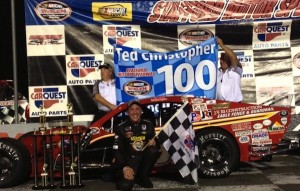 Ted Christopher celebrates his 100th SK Modified victory at Stafford Motor Speedway on July 19, 2013 (Photo: Stephanie Kimball/Stafford Speedway)