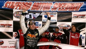 Doug Coby celebrates a Whelen Modified Tour victory in August at Stafford Speedway (Photo: Jim Rogash/Getty Images for NASCAR)