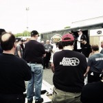 Scott Tapley oversees a Valenti Modified Racing Series drivers meeting at Thompson Speedway earlier this year