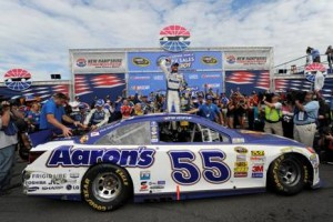 Brian Vickers celebrates a Sprint Cup Series victory at New Hampshire Motor Speedway in July