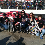 Keith Rocco celebrates his Modified Racing Series victory Sunday at the Waterford Speedbowl