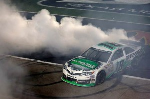 Kyle Busch celebrates victory at Texas Motor Speedway last year (Getty Images)