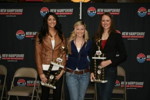 2014 Speedway Star winner Cara Peters (right) stands with runner-up Whitney Doucet (left) and third-place finisher Jilly Martin (middle) after Saturday's fifth annual singing contest. (Photo: New Hampshire Motor Speedway)
