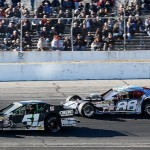 Justin Bonsignore (51) and Woody Pitkat (88) battle for position during the NASCAR Modified Tour season opening Icebreaker 150 April 6 at Thompson Speedway (Photo: Jim Rogash/Getty Images for NASCAR)