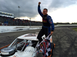 Ryan Preece celebrates victory in the first of two SK Modified division features Thursday at Thompson Speedway