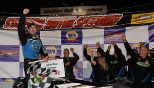 Doug Coby celebrates his first Whelen Modified Tour victory of the season Friday at Stafford Speedway (Photo: Getty Images for NASCAR)