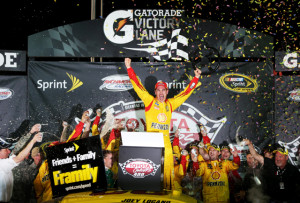 Joey Logano celebrates a Sprint Cup Series victory earlier this season at Richmond International Raceway (Photo: NASCAR)
