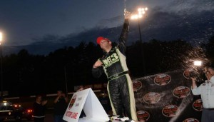 Justin Bonsignore celebrates victory Saturday at Monadnock Speedway (Photo: Darren McCollester/Getty Images for NASCAR)
