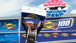 Bobby Santos celebrates his Whelen Modified Tour Sunoco 100 win last July at New Hampshire Motor Speedway (Photo: Getty Images)