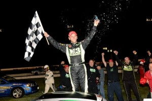 Justin Bonsignore celebrates his third Whelen Modified Tour victory of the season Thursday at Thompson Speedway (Photo: Darren McCollester/Getty Images for NASCAR)