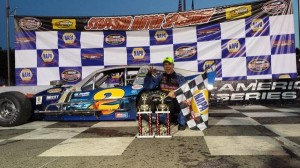 Ryan Preece celebrates fifth SK Modified victory of the season at Stafford Speedway Friday (Photo: Jason Cunningham)