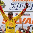 Joey Logano celebrates his second career Sprint Cup Series victory at New Hampshire Motor Speedway in Sept. 2014 (Photo: Jonathan Ferrey/Getty Images for NASCAR)