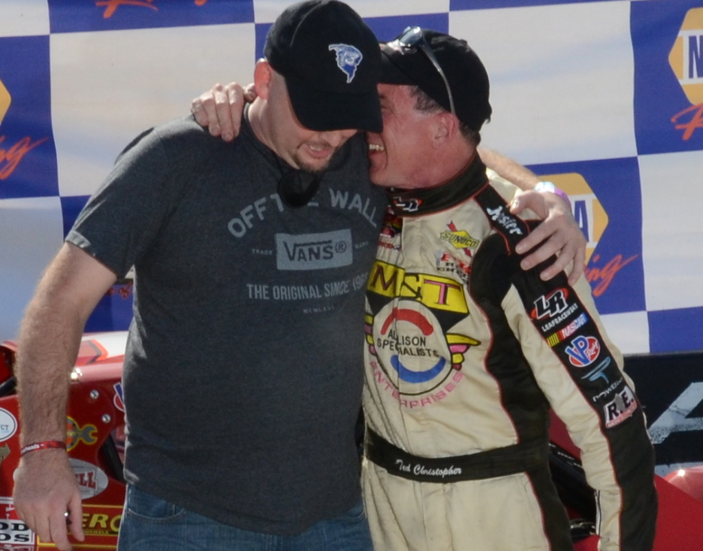Mike O'Sullivan (left) and Ted Christopher celebrate Christopher's ninth SK Modified championship at Stafford Speedway in 2014 (Photo: Fran Lawlor)