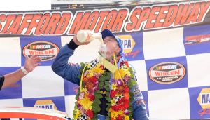 Ryan Preece celebrates victory in the Whelen Modified Tour NAPA Auto Parts Fall Final 150 Sunday at Stafford Speedway (Photo: Getty Images for NASCAR)