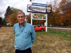 Glastonbury businessman Bruce Bemer moments after he was the high bidder during a foreclosure auction of the Waterford Speedbowl Saturday