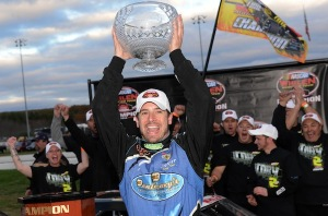 Doug Coby celebrates his second Whelen Modified Tour championship in October at Thompson Speedway (Photo: Getty Images for NASCAR)