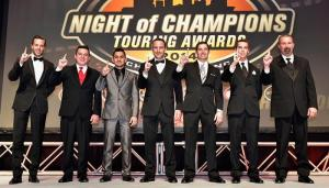 Left, to right, Anthony Kumpen, Andy Seuss, Abraham Calderon, LP Dumoulin, Doug Coby, Ben Rhodes and Greg Pursley were honored Saturday at the NASCAR Touring Series Night of Champions in Charlotte (Photo: Getty Images for NASCAR)