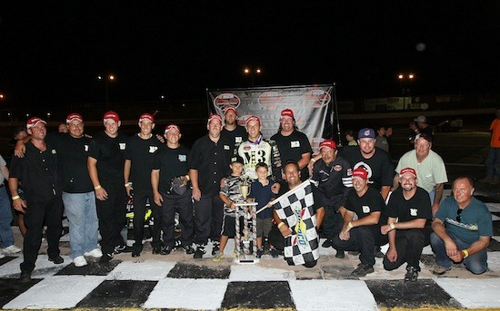 Bonsignore celebrating the first career Whelen Modified Tour victory at Riverhead Raceway in 2011 (Photo: Jim McIsaac/Getty Images for NASCAR)