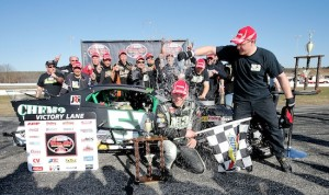 Celebrating victory in the 2014 Whelen Modified Tour Icebreaker at Thompson Speedway (Photo: Jim Rogash/Getty Images for NASCAR)