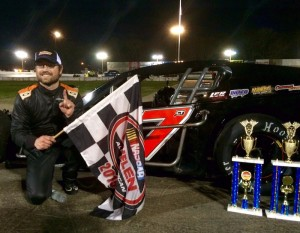 Tim Jordan celebrates his first career SK Modified feature victory Saturday at the Waterford Speedbowl.