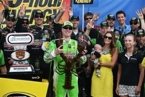 "Kyle Busch poses in Victory Lane with ""Loudon the Lobster"" after winning the Sprint Cup Series 5-Hour Energy 301 at New Hampshire Motor Speedway Sunday (Photo: Rainier Ehrhardt/Getty Images for NASCAR)"