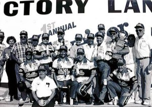 Tommy Ellis (with towel) won the inaugural NASCAR race at New Hampshire Motor Speedway,  taking the 1990 Budweiser 300 exactly 25 years ago today. (Photo: Courtesy New Hampshire Motor Speedway)