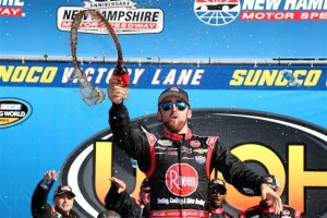 Austin Dillon celebrates victory in the Camping World Truck Series UNOH 175 at New Hampshire Motor Speedway Saturday  (Photo: Sean Gardner/Getty Images for NASCAR)