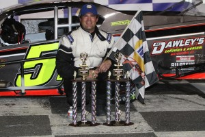 Chris Pasteryak celebrates victory in a Valenti Modified Racing Series event at Stafford Speedway  earlier this year (Photo: Stafford Speedway/Driscoll MotorSports Photography)