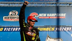 Doug Coby celebrates victory in the Whelen Modified Tour F.W. Webb 100 at New Hampshire Motor Speedway Saturday (Photo: Getty Images for NASCAR)