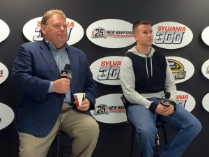 New Hampshire Motor Speedway executive vice-president and general manager Jerry Gappens (left) with Whelen Modified Tour driver Ryan Preece Thursday at the track