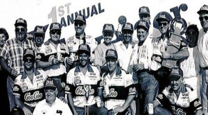 Tommy Ellis (with towel around neck) celebrates a win in the first ever NASCAR national series race at NHMS in 1990. Ellis beat a strong field, including Dale Earnhardt, Jeff Burton and Dale Jarrett to win the inaugural event on July 15, 1990. (Photo: Courtesy New Hampshire Motor Speedway)