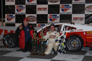 Car owner Joe Brady (left) and Ted Christopher celebrate their first Valenti Modified Racing Series victory together in 2010 at Stafford Motor Speedway (Photo: Valenti Modified Racing Series via Vermont Motorsports Magazine)