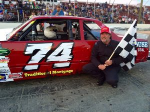 Joe Arena celebrates victory Saturday at the New London-Waterford Speedbowl