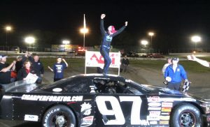 Joey Polewarczyk Jr. celebrates victory in the American Canadian Tour feature Saturday at the New London-Waterford Speedbowl (Photo: New London-Waterford Speedbowl)