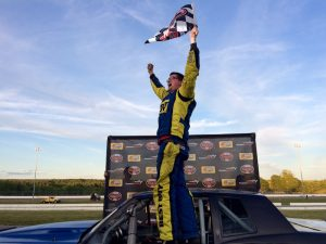 Brent Gleason celebrates his first career Limited Sportsman victory Wednesday at Thompson Speedway