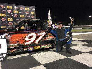 Dave Trudeau celebrates his third win of 2016 Wednesday at Thompson Speedway (Photo: Thompson Speedway)