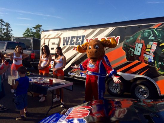 Milo The Moose From New Hampshire Motor Speedway met with the Hooters Girls at Stafford.