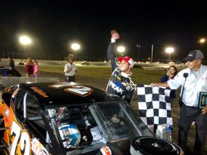 Paul Kusheba celebrates his first career SK Modified victory Saturday at the New London-Waterford Speedbowl