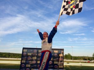 Phil Jacques celebrates his first career Limited Sportsman victory Wednesday at Thompson Speedway