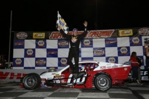 Ted Christopher celebrates victory in the Valenti Modified Racing feature Friday at Stafford Motor Speedway (Photo: Jim DuPont)