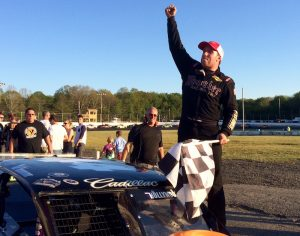 Tony Membrino Jr. celebrates his fourth SK Light Modified victory of the season at the New London-Waterford Speedbowl Saturday